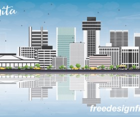 Wichita city landscape vectors