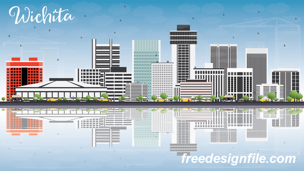 Wichita city landscape vectors