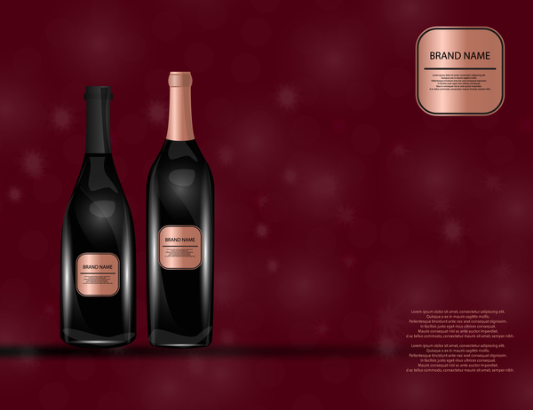 Wine poster template with bottle vector 11