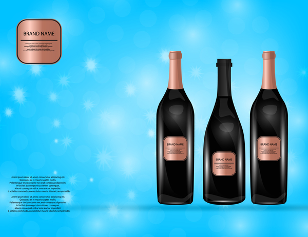 Wine poster template with bottle vector 12