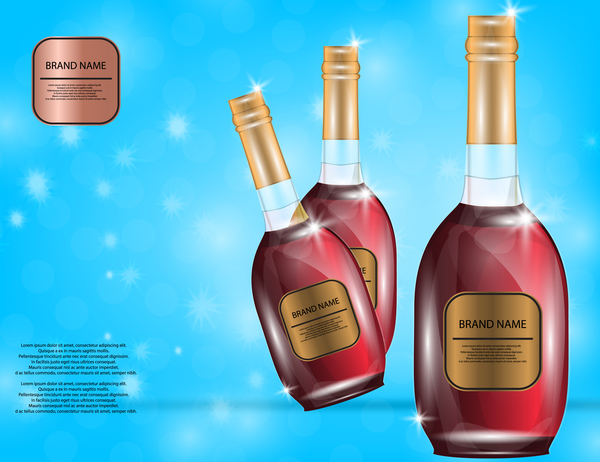 Wine poster template with bottle vector 19
