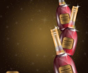 Wine poster template with bottle vector 23