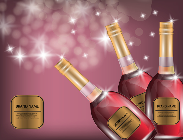Wine poster template with bottle vector 24
