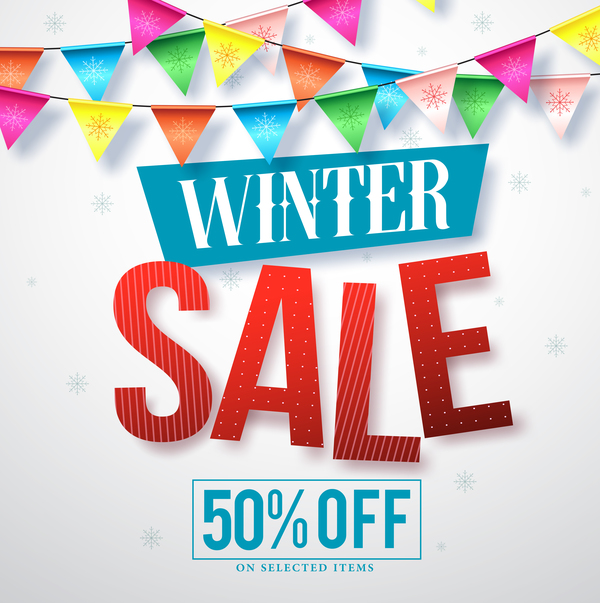 Winter sale discount background vector 01