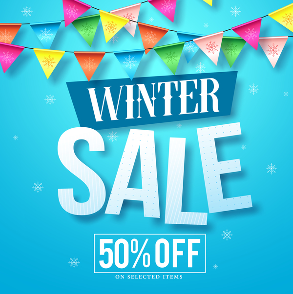 Winter sale discount background vector 02