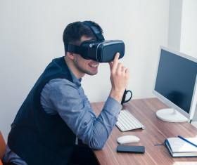With VR glasses of men Stock Photo 01
