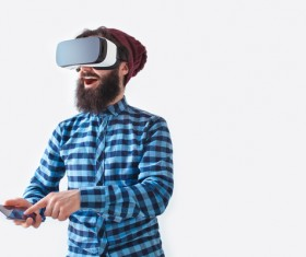 With VR glasses of men Stock Photo 07