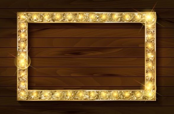 Wooden background and gloden frame vector