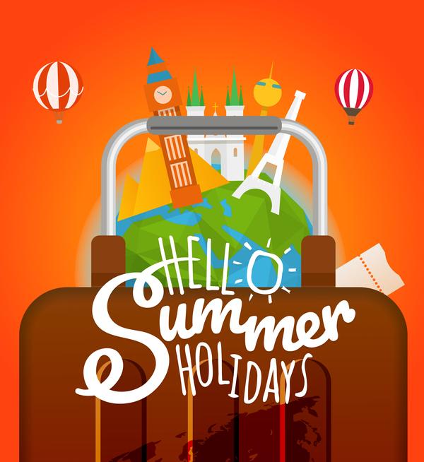World travel in summer vector design