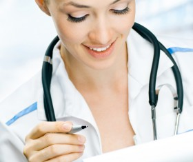 Write the case of the female doctor Stock Photo