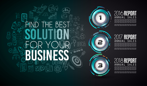 Year report infographic business vector 06