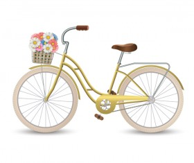 Yellow bicycle with flower vectors