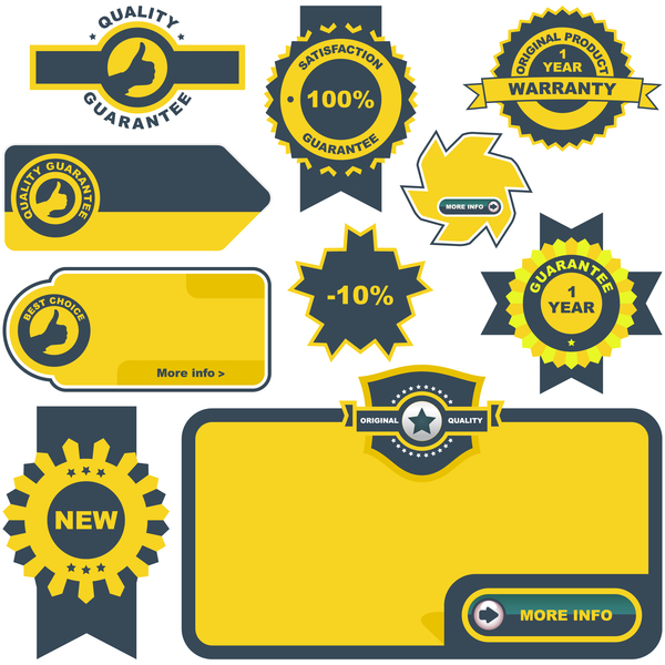 Yellow quality labels with badge vector