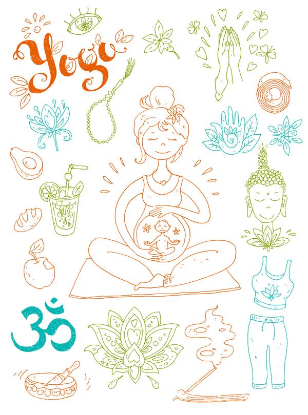 Yoga design elements hand drawn vector 01