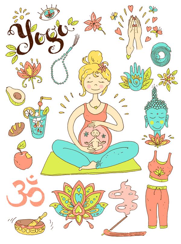 Yoga design elements hand drawn vector 02