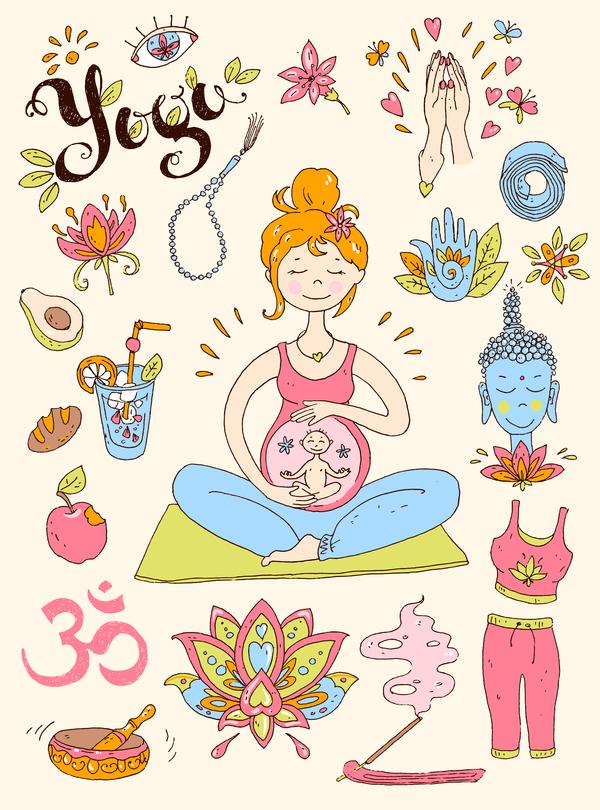 Yoga design elements hand drawn vector 03