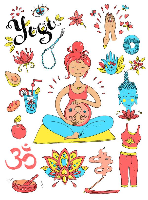 Yoga design elements hand drawn vector 04