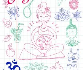 Yoga design elements hand drawn vector 05