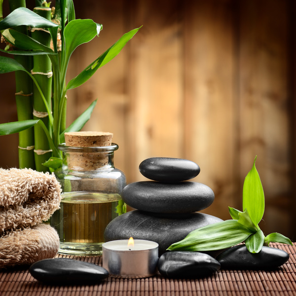 Zen stones and bamboo orchids Stock Photo 01