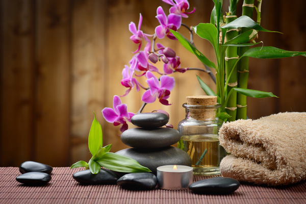 Zen stones and bamboo orchids Stock Photo 02