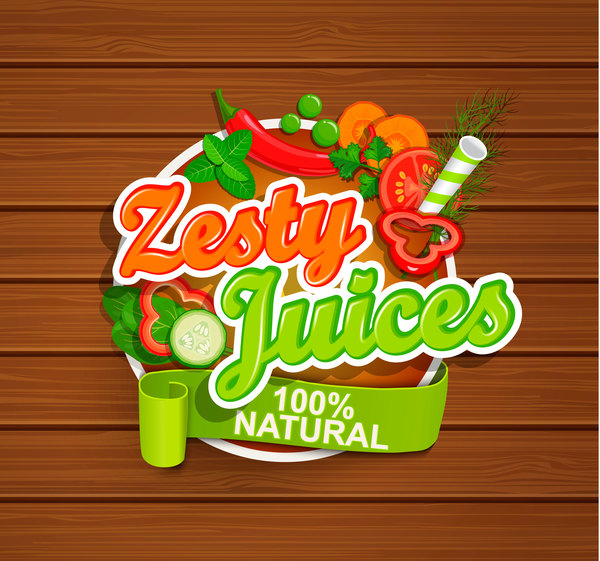 Zesty juices sticker vector