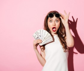 Zhang big mouth woman holding the dollar Stock Photo
