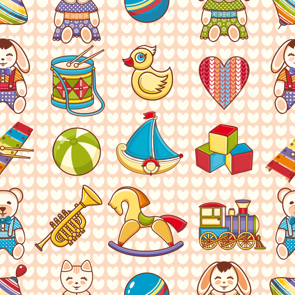 baby seamless pattern with cute toy vectors 01