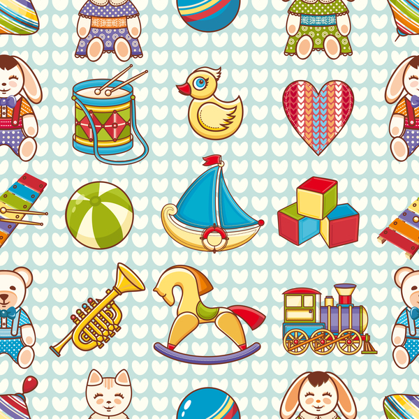 baby seamless pattern with cute toy vectors 02