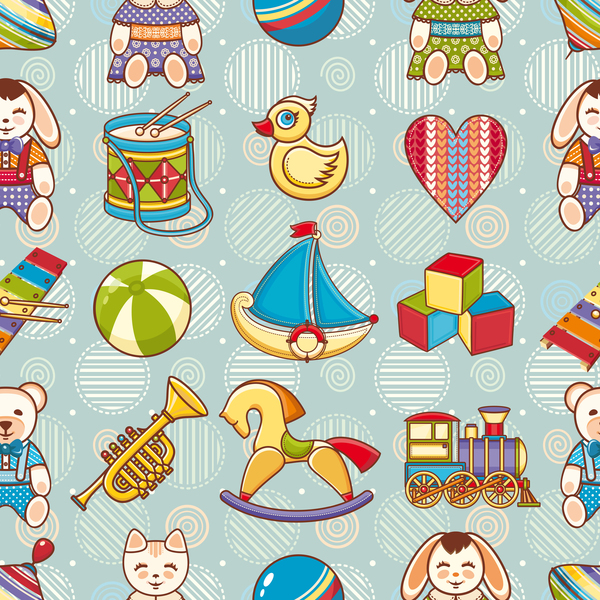 baby seamless pattern with cute toy vectors 03