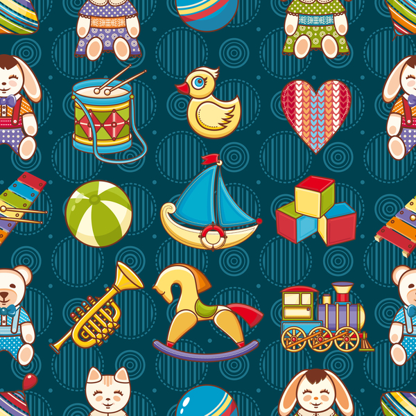 baby seamless pattern with cute toy vectors 04