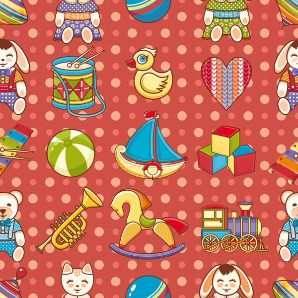 baby seamless pattern with cute toy vectors 05
