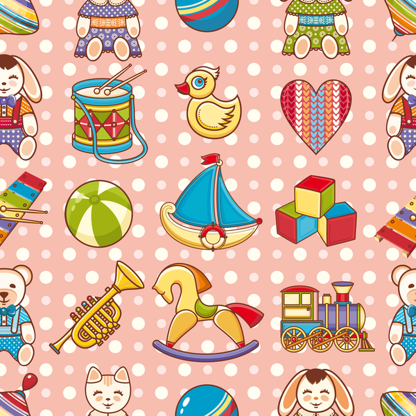 baby seamless pattern with cute toy vectors 06