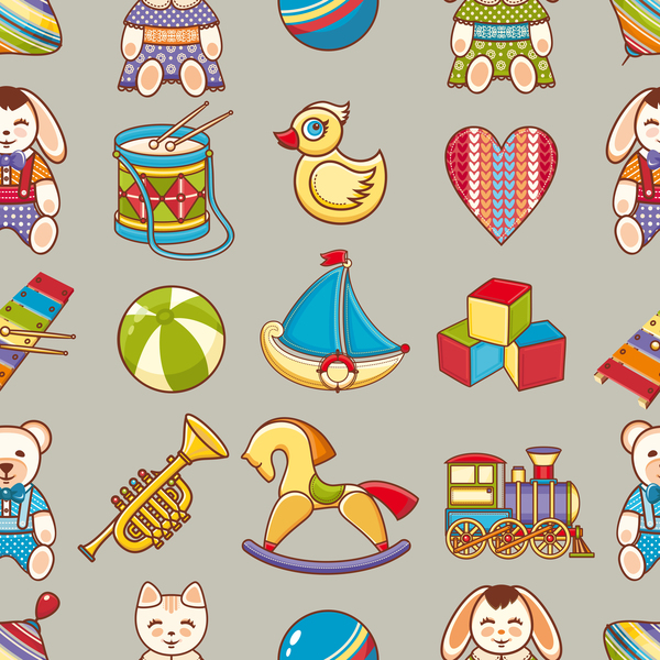 baby seamless pattern with cute toy vectors 07