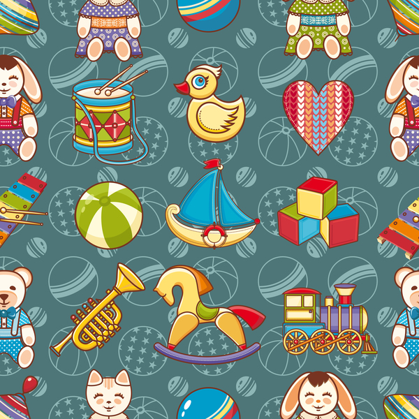 baby seamless pattern with cute toy vectors 08