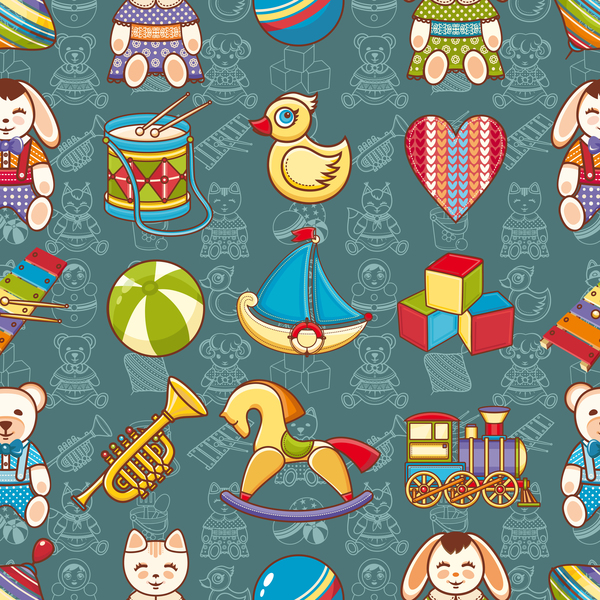 baby seamless pattern with cute toy vectors 09