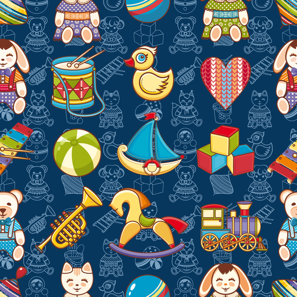 baby seamless pattern with cute toy vectors 10