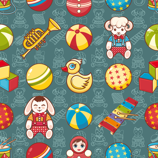baby seamless pattern with cute toy vectors 11