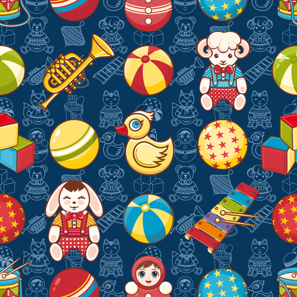 baby seamless pattern with cute toy vectors 12