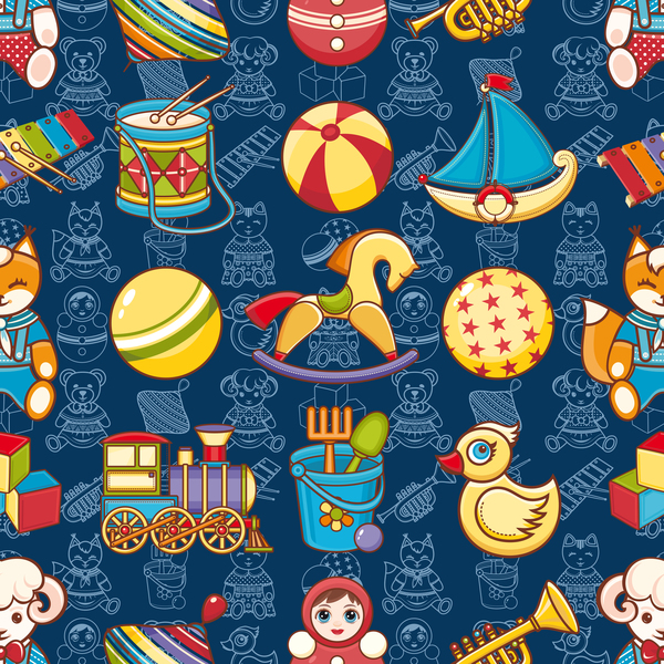 baby seamless pattern with cute toy vectors 13