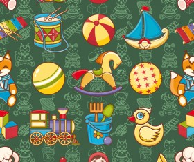 baby seamless pattern with cute toy vectors 14