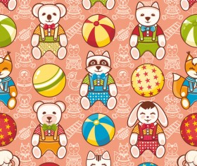 baby seamless pattern with cute toy vectors 15