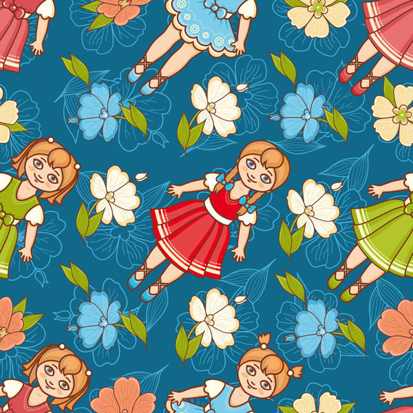 baby seamless pattern with cute toy vectors 16
