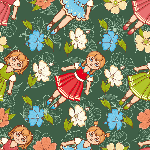 baby seamless pattern with cute toy vectors 17