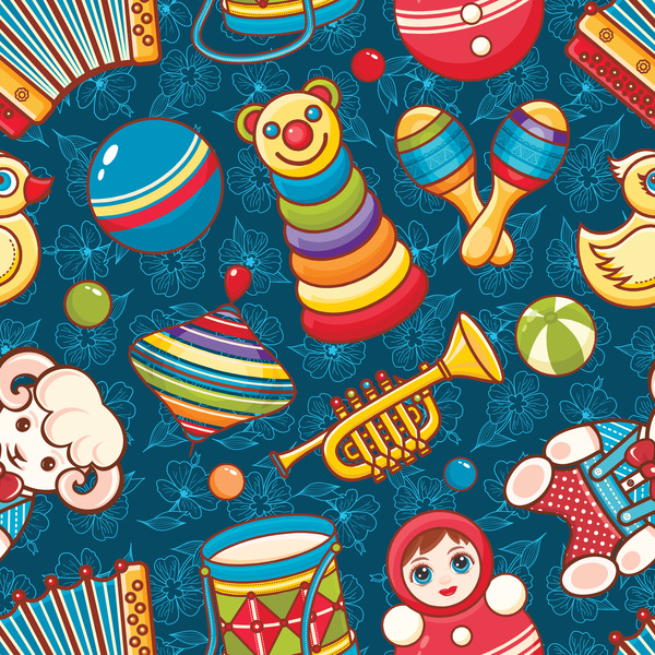 baby seamless pattern with cute toy vectors 19