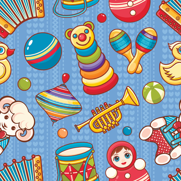 baby seamless pattern with cute toy vectors 21