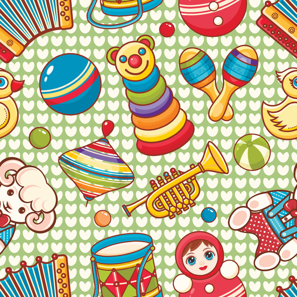 baby seamless pattern with cute toy vectors 22