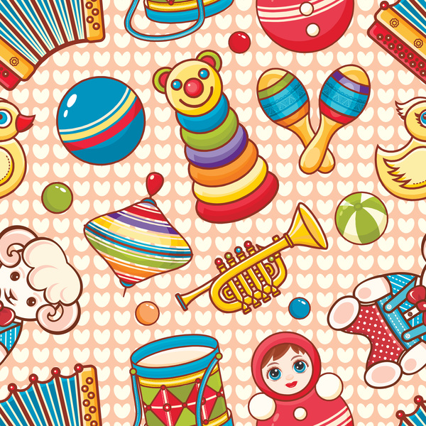 baby seamless pattern with cute toy vectors 23