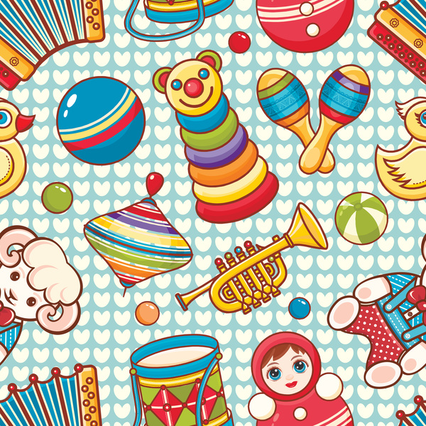 baby seamless pattern with cute toy vectors 24