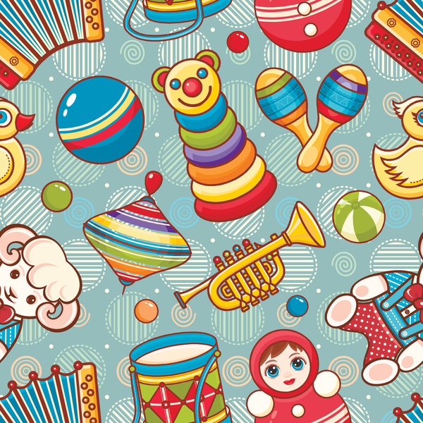 baby seamless pattern with cute toy vectors 25