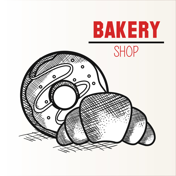 bakey shop hand drawn vector design 01